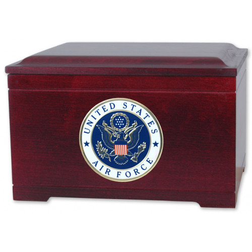 Military Memory Chest with Medallion Cremation Urn for Ashes