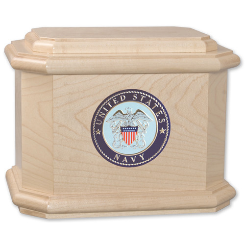 Diplomat Cremation Urn for Ashes with Military Medallion