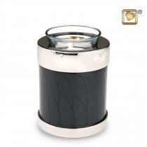 Tealight Midnight Pearl Silver Cremation Urn for Ashes