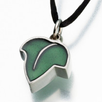 Pewter Leaf with Green Enamel