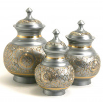 Elegant Silver Engraved Brass Urn (3 Sizes)