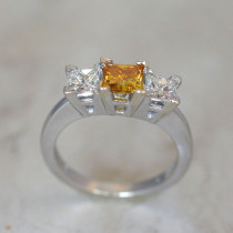 3 Stone Ring Mounting for Princess Cut