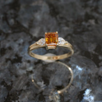 Radiant Cut Fashion Ring with Pear Diamond Accents