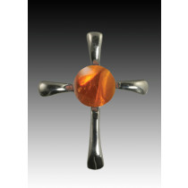 Symphony Cross Pendant - Amber - Sterling Silver