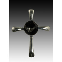 Symphony Cross Pendant - Black - Sterling Silver