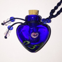 Blue Heart Glass Bottle Cremation Pendant for your loved ones ashes