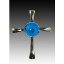 Symphony Cross Pendant - Blue - Sterling Silver