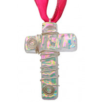 Cross Dichroic Glass Pendant #02