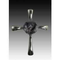Symphony Cross Pendant - Gray - Sterling Silver