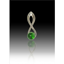 Infinity Glass Bead Pendant - Green - Sterling Silver