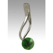 Tempo Glass Bead Pendant - Green - Sterling Silver