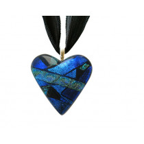 Heart Dichroic Glass Pendant #02