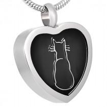 Silhouette Cat Heart Pendant