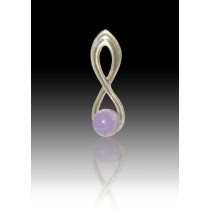 Infinity Glass Bead Pendant - Lavender - Sterling Silver
