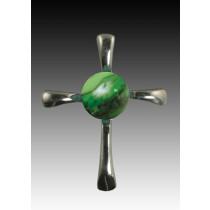 Symphony Cross Pendant - Malachite - Sterling Silver