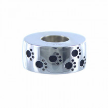 Sterling Silver Paw Prints Bead