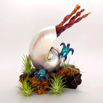 Pearled Nautilus and Turtles Sculpture