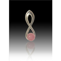 Infinity Glass Bead Pendant - Pink - Sterling Silver
