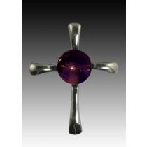 Symphony Cross Pendant - Purple - Sterling Silver