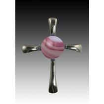 Symphony Cross Pendant - Rose Swirl - Sterling Silver