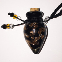 Black Tear Glass Bottle Cremation Pendant that holds the ashes of your loved one