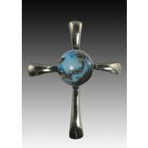 Symphony Cross Pendant - Turquoise - Sterling Silver