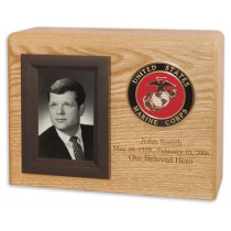 Military Cremation Urn for Ashes with Photo Display