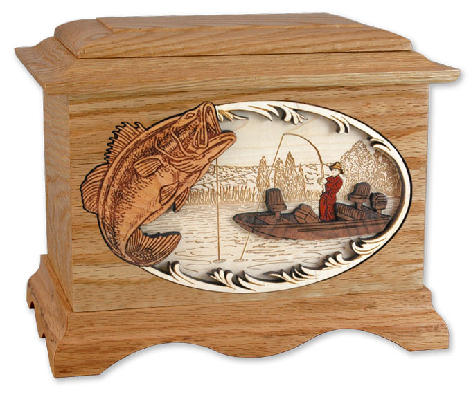 Fisherman Wooden Urn