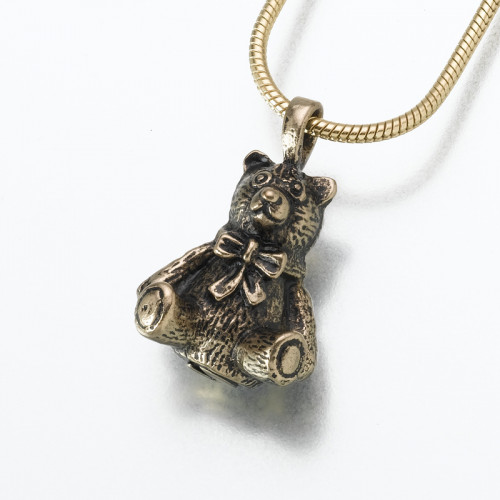 Antique Bronze Teddy Bear Cremation Pendant