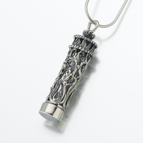 Antiqued Silver Chromate Wrapped Cylinder Cremation Pendant