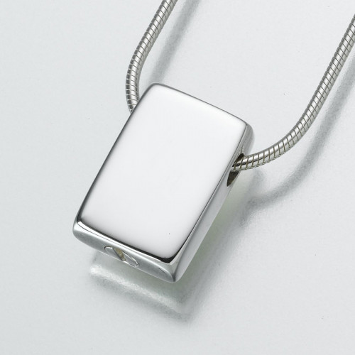 Slide Rectangle Cremation Pendant in Sterling Silver