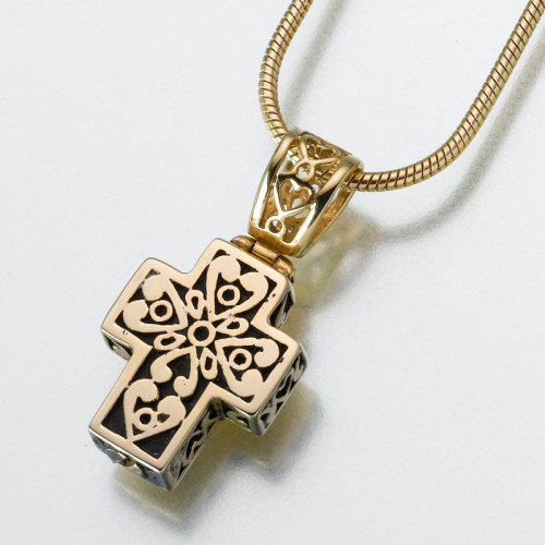 Filigree Cross Cremation Pendant in Gold