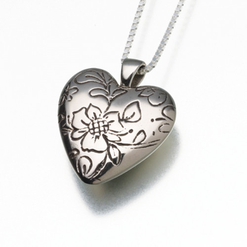 Antique White Bronze Floral Heart Cremation Pendant