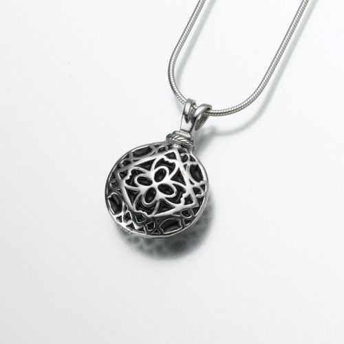 Filigree Round Cremation Pendant in Sterling Silver