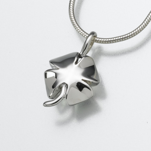 Lucky Four Leaf Clover Cremation Pendant in Sterling Silver