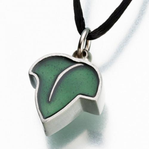 Pewter Leaf with Green Enamel