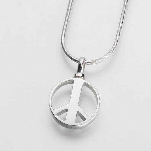 Peace Sign Cremation Pendant in Silver
