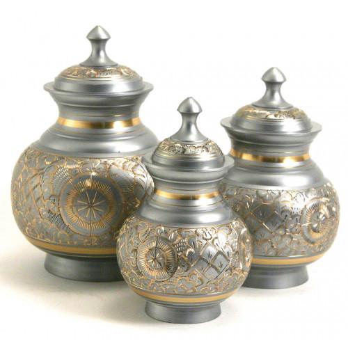 Elegant Silver Engraved Brass Urn