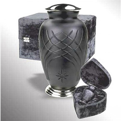 Hand-Cut Glass and Metal Urn