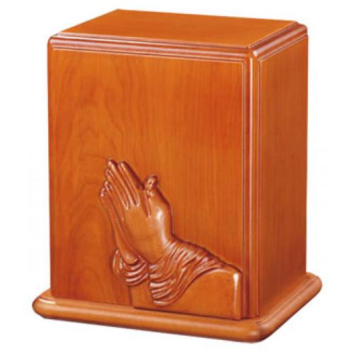 Praying Hands Wood Urn