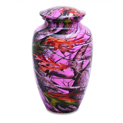 Pink Camouflage Cremation Urn for Ashes