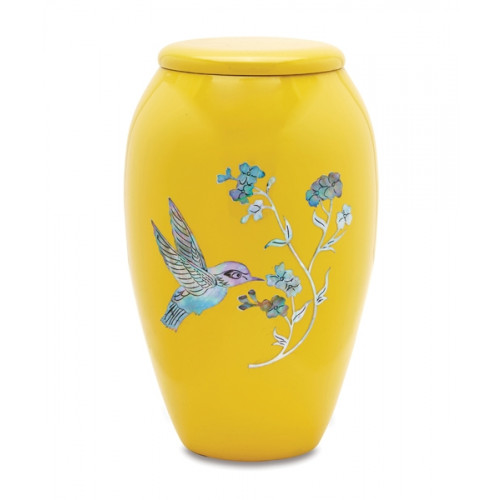 Yellow Hummingbird Cremation Urn for Ashes
