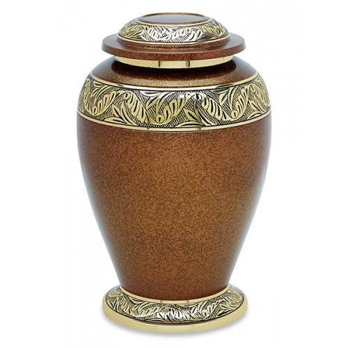 Golden Leaf Brass Cremation Urn for Ashes