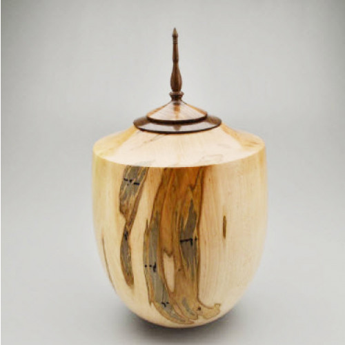 Hand Turned Ambrosia Maple Urn with Walnut Spire