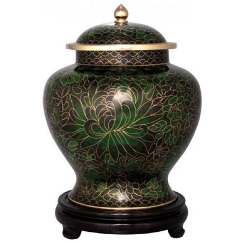 Forest Green Cloisonne Urn