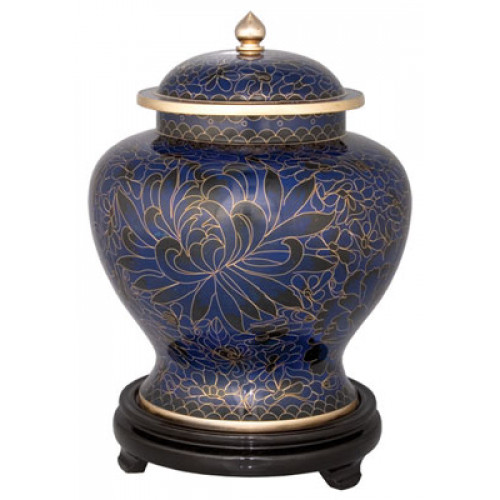 Royal Blue Cloisonne Urn