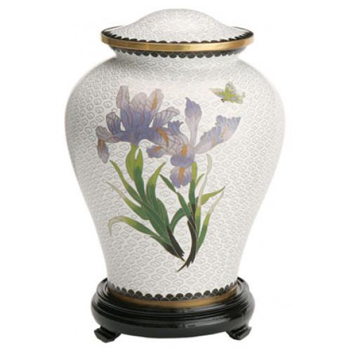 White Iris Cloisonne Urn