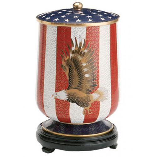 Flag and Eagle Cloisonne - Standard Urn