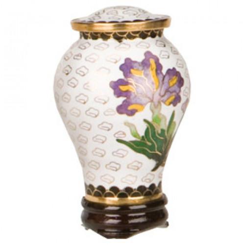 White Iris Cloisonne Keepsake Urn