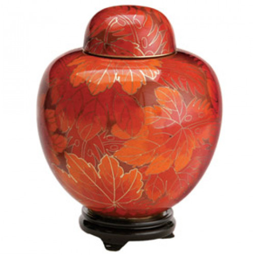 Fall Leaf Cloisonne Keepsake Miniature Urn